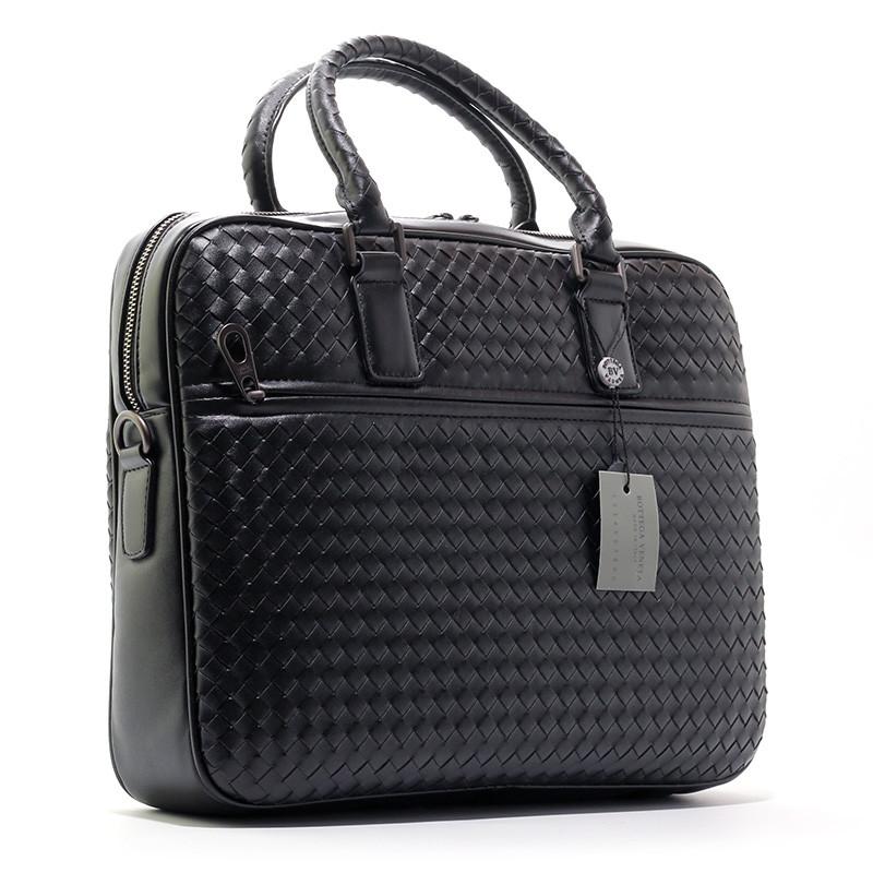 Портфель кожаный плетенка черный 6777-3