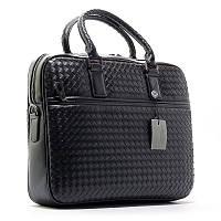Портфель кожаный плетенка черный 6777-3, фото 1