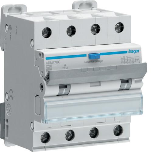 Дифференциальный автоматический выключатель Hager 3P+N 6kA C-20A 30mA, А, ADM470C