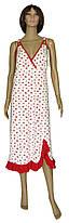 Ночная рубашка женская трикотажная 03295 Margarita Batal фуликра Белая с красными сердечками