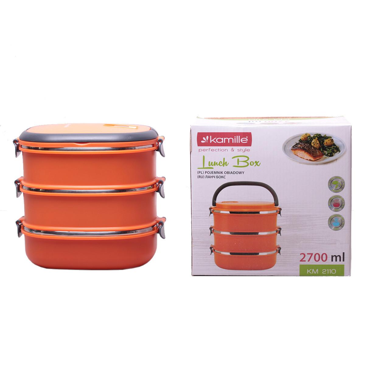 Ланч бокс тройной Kamille Оранжевый 2700мл для обедов из плстика и нержавеющей стали KM-2110