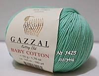 Пряжа для вязания хлопок/акрил BABY COTTON GAZZAL № 3425 - лагуна