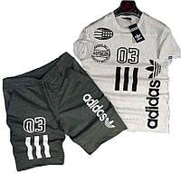 Мужской комплект футболка и шорты Adidas серый