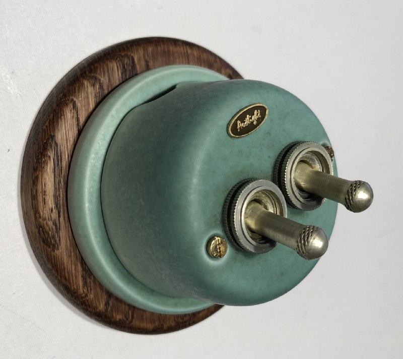 Ретро вимикач фарфоровий, тумблерный двоклавішний, Бірюза, серія Lux, фурнітура дерево, бронза, хром