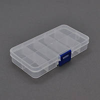 Пластмассовый ящик для радиодеталей, 130 х 25 х 65 мм, 10 отделений