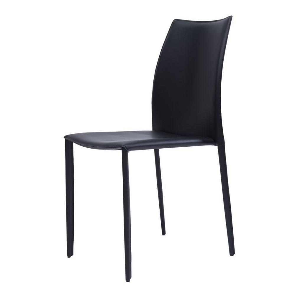 Обеденный стул GRAND (Гранд) черная кожа от Concepto, штабелируется
