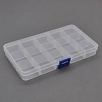 Пластмассовый ящик для радиодеталей, 175 х 25 х 100 мм, 15 отделений