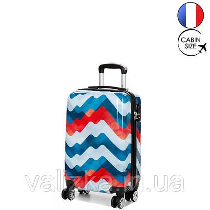 Пластиковий чемодан маленький з полікарбонату з принтом хвиля Madisson Франція, фото 2