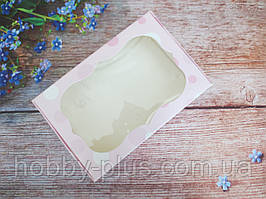 Коробка для изделий ручной работы с окном, 100х150х30 мм, цвет розовый (шарики), 1шт