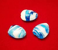 Бусина LW, «Капля» голубая с напылением, 14х18х8 мм