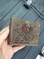 Мужской кожаный кошелек ТатуНаКоже, космонавт, фото 1