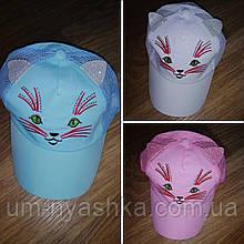Бейсболка хлопковая кепка с ушками кошечка