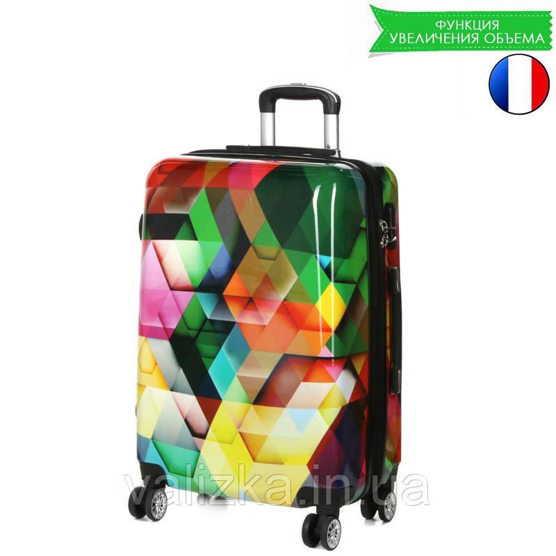 Средний пластиковый чемодан с принтом ромб Madisson Франция