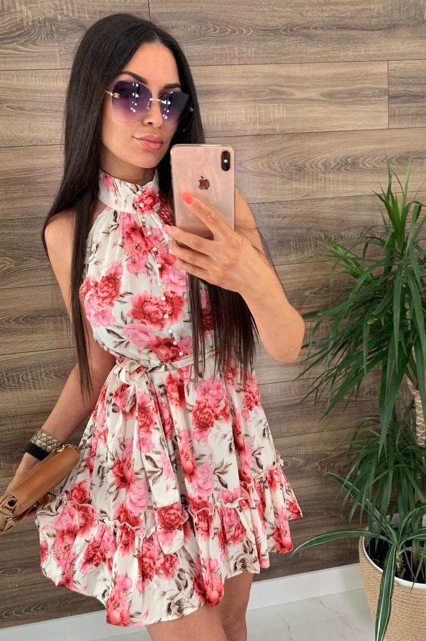 Платье (Фабричный Китай ) Ткань шлифований шёлк Размер 42/44 ,44/46.Разные цвета (6437)