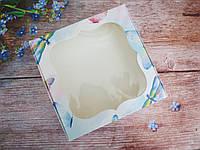 Коробка для изделий ручной работы с окном, 150х150х30 мм, цвет белый (бабочки), 1шт, фото 1