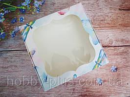 Коробка для изделий ручной работы с окном, 150х150х30 мм, цвет белый (бабочки), 1шт