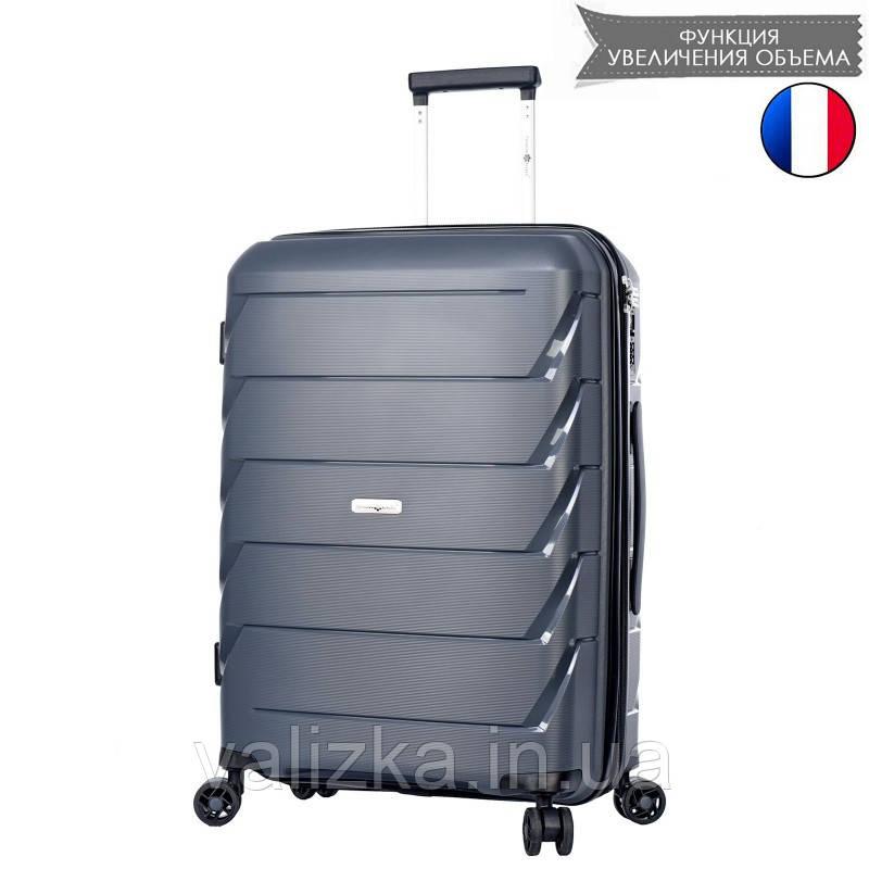 Средний пластиковый чемодан из полипропилена серый Snowball 92803 Франция