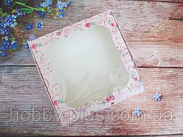 Коробка для изделий ручной работы с окном, 150х150х30 мм, цветочный принт (сердце/розы), 1шт