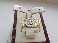 """Серебряное кольцо с золотыми вставками""""Корона"""", фото 1"""