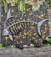Риба кована вішак кований панно кухня вешалка рыбак подарок в квартиру