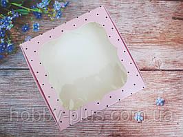 Коробка для изделий ручной работы с окном, 150х150х30 мм, цвет розовый (горошек), 1шт