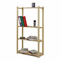 Деревянный стеллаж для дома и офиса на 4 полки серии BASIC4
