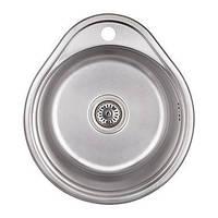 Врізна кругла мийка 450 * 390 * 160мм 0.6 мм WEZER 4843-Satin