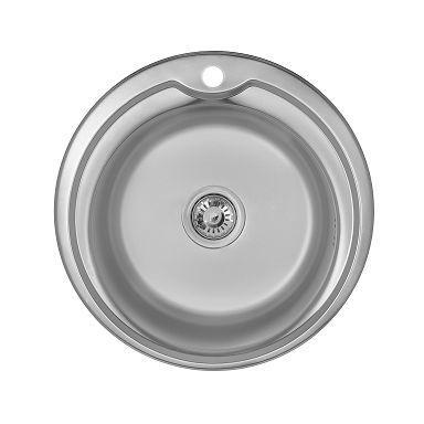 Врезная круглая мойка 510 * 180 мм 0.8мм WEZER 510-A-D Satin