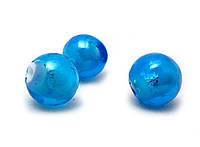 Бусина LW, голубая с фольгированными частицами, 10 мм