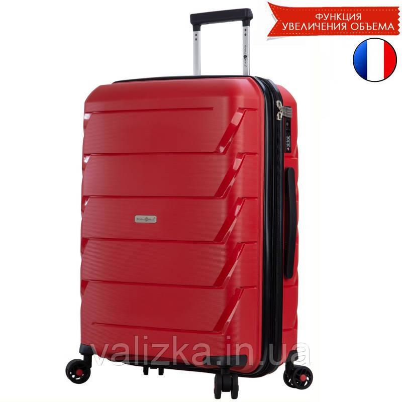Большой пластиковый чемодан из полипропилена красный Snowball 92803 Франция