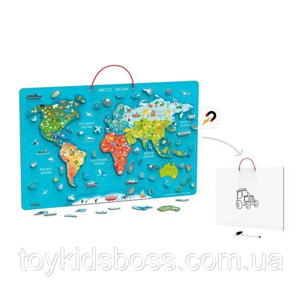 Пазл магнитный Viga Toys Карта мира с маркерной доской (44508)