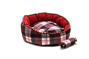 Лежак для котов и собак Люкс красный №1 380х380х140