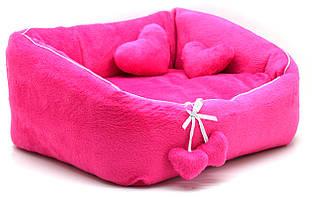 Лежак для котов и собак Нежность розовый №1 300х370х220