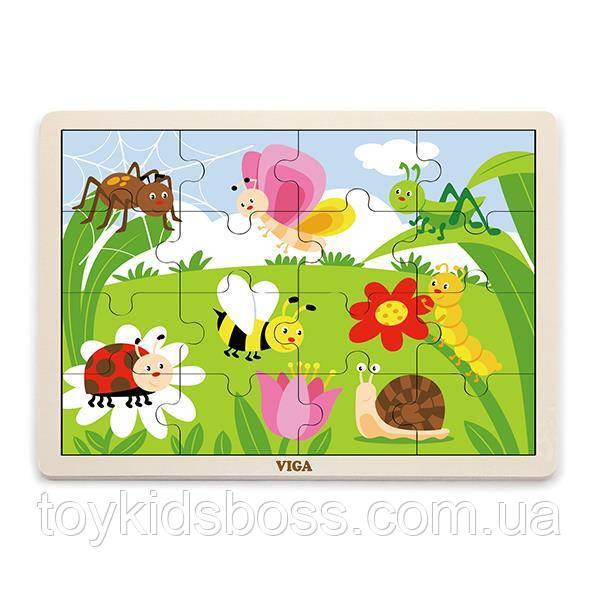 Дерев'яний пазл Viga Toys Комахи, 16 елементів (51450)