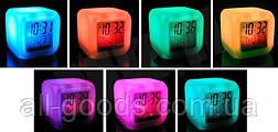 Цифровые светодиодные часы куб с ЖК-дисплеем и будильником, с изменяющимися цветами, для снятия стре, фото 2