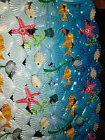 Коврик для ванны силиконовый  40 х 60см ракушка овальный рыбки