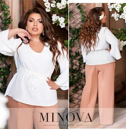 Красивая белая блуза с баской лен коттон большого размера Размеры: 50.52.54.56.58.60.62, фото 2