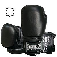 Боксерські рукавиці PowerPlay 3088 Чорні (натуральна шкіра) 10 унцій