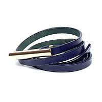 Ремень Woman's heel кожаный синий  (Р-29-2)