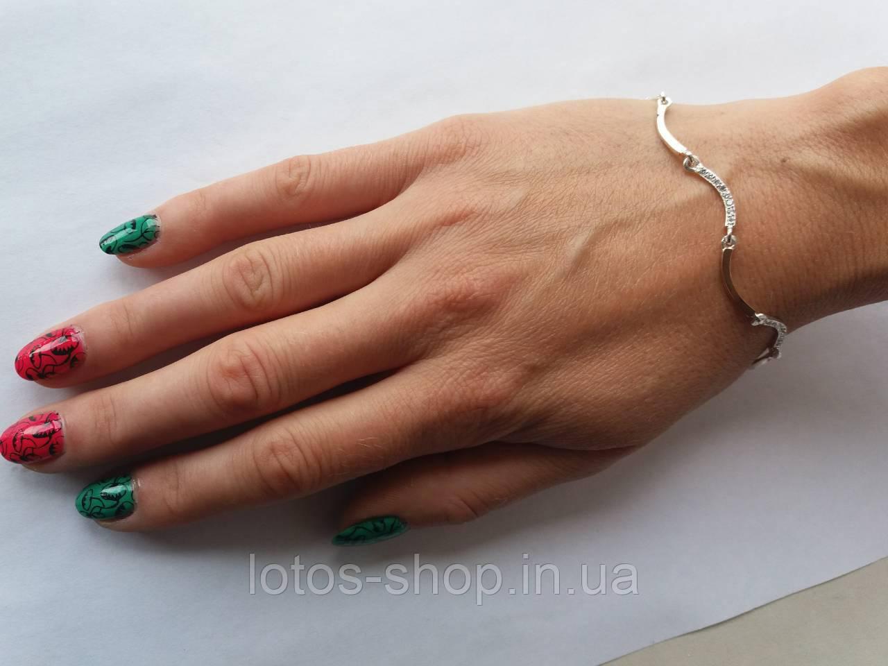 """Cеребряный браслет с золотыми вставками """"Лиана"""