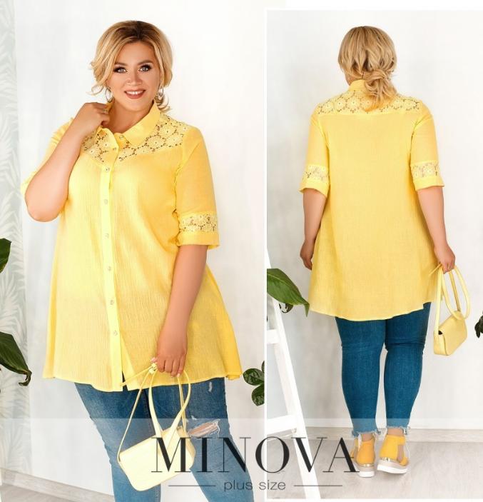 Летняя удлиненная рубашка из батиста желтого цвета с гипюром большого размера Размеры: 56-58, 60-62