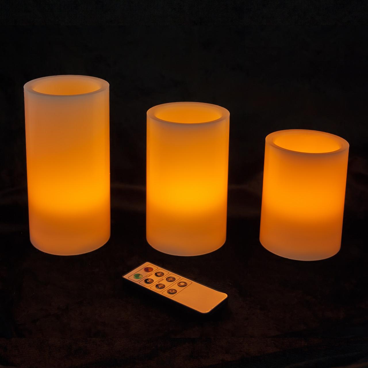 Набор из 3 LED свечей с дистанционным управлением (уценка)