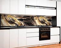 Кухонный фартук с полноцветной фотопечатью золото черная абстракция с завихрениями 3D Самоклейка 60 х 250 см