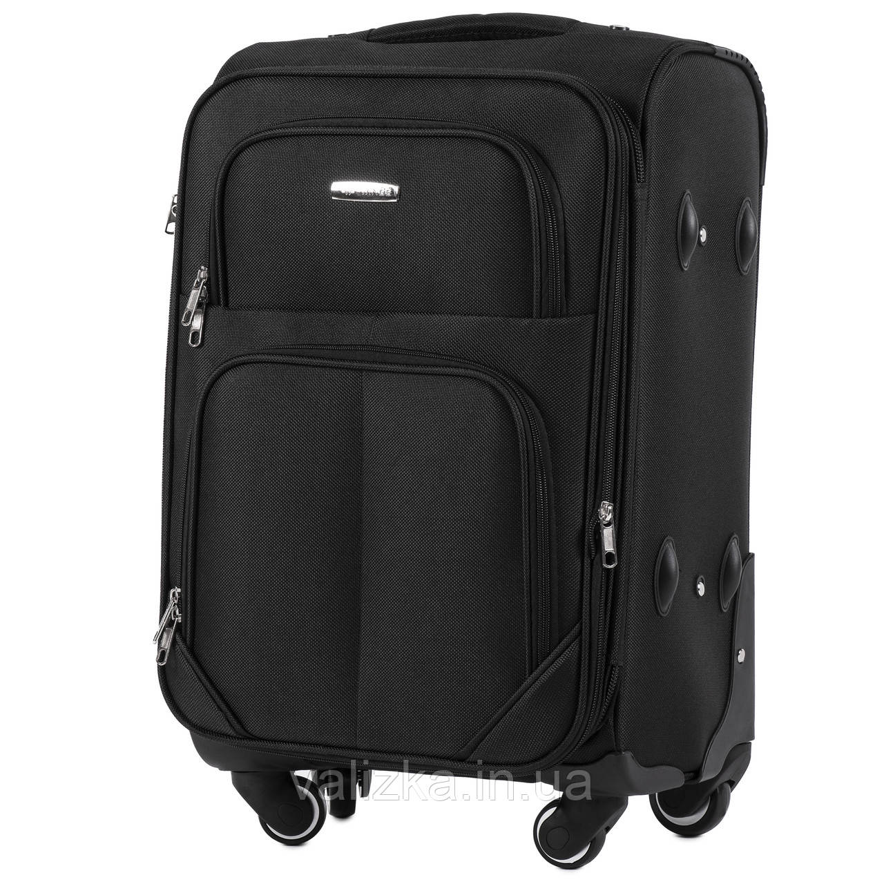 Малый текстильный чемодан на 4-х колесах  черный Wings