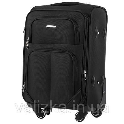 Малый текстильный чемодан на 4-х колесах  черный Wings, фото 2