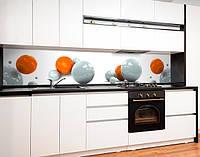 Фартук для кухни цветные шары 3D, геометрия, керамические сферы Самоклейка 60 х 250 см