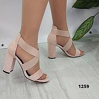 Женские замшевые босоножки на каблуке, ОВ 1259, фото 1