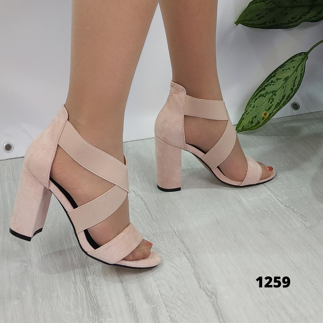 Женские замшевые босоножки на каблуке, ОВ 1259