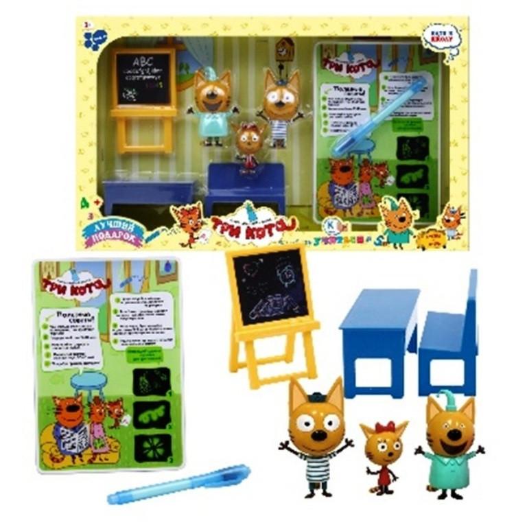 """Детский игровой набор """"Три кота"""" В школе / 3 фигурки Семья """"Три кота"""" Рисуй светом"""