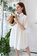 Платье прошва белое с пуговицами